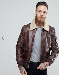 blackdust leather aviator jacket in dark brown with borg collar 135 00