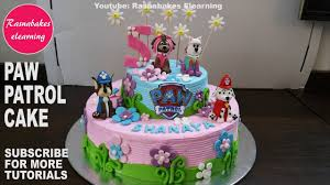 Paw Patrol Birthday Cake For Girls 3d Toys Fondant Figures Whipped