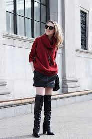 oversized sweater leather skirt otk boots by victoria of the wind of