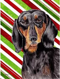 ines treasures sc9323gf dachshund candy cane holiday flag contemporary outdoor holiday decorations by unbeatable inc