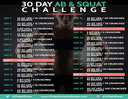 30 Day Ab Squat Challenge Chart Final She Wears High Heels