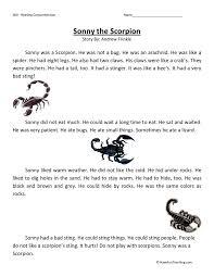 Reading Comprehension Worksheet - Sonny the Scorpion | ESL ...