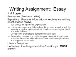 writing assignment essay 1 of 5 types persuasion business letter expository presents cahsee essay examples