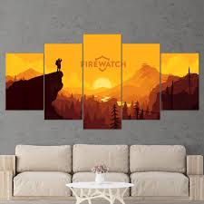firewatch 01 abstract 5 piece canvas wall art gaming canvas
