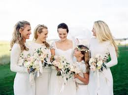 Bridesmaids In Cable Knit Sweaters And Long Skirts Weddings
