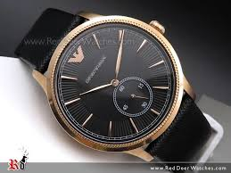 emporio armani rose gold leather strap mens watch ar1798