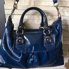 Coach Ashley Patent Leather Blue Satchel Like New