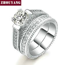 ZHOUYANG Wedding Ring Set For Women <b>Luxury Cubic Zirconia</b> 2 ...