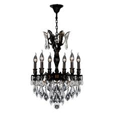 worldwide lighting versailles 6 light flemish brass chandelier with clear crystal