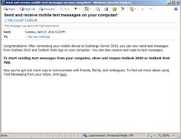 sending text message from email sending receiving sms messages using outlook 2010 or outlook web