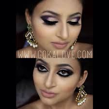 arabic style makeup gold and purple with some glitter boston indian stani makeup artist