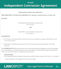 Simple Contractor Agreement Template Free Independent Contractor Agreement Create Download