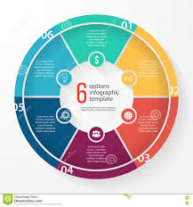 6 Piece Pie Chart Template Vector Business Pie Chart Circle Infographic Template Stock
