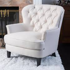 noble house tafton ivory fabric tufted club chair