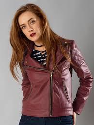 faballey maroon faux leather biker jacket