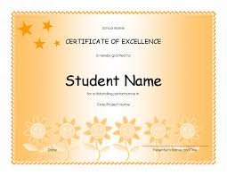 Award Of Excellence Certificate Template Download Student Excellence Award Elementary Free Certificate 97