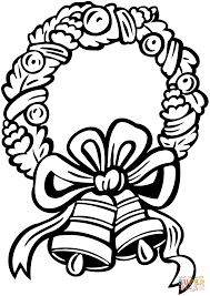 Christmas Wreath with Jingle Bells coloring page | Free Printable ...