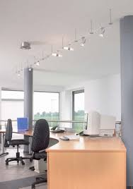 ceiling office track lighting fixtures for small office with white wall interior color decor and wooden table with swivel chair ideas
