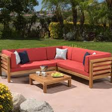wood outdoor sectional. Simple Sectional Noble House Oana Teak Finish 4Piece Wood Outdoor Sectional Set With Red  Cushions Intended S