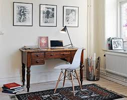 Vintage office decorating ideas Whimsical Corner Home Office Decorating Ideas With White Mid Century Office Chair With Eiffel Legs On Art Bohemian Areaa Rug Combined Small Brown Old Wood Office Lasarecascom Home Office Ideas Simple Corner Home Office Decorating Ideas With