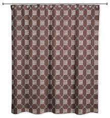 brown cross stitch printed pattern shower curtain contemporary shower curtains by designs direct