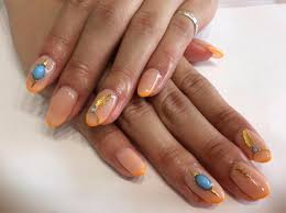 ジェル 蛍光オレンジ フェザー ターコイズ ネイルnail Salon