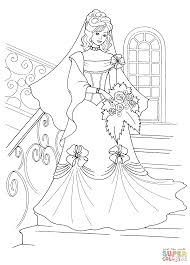 Princess And Her Wedding Dress Coloring Page Supercoloringcom