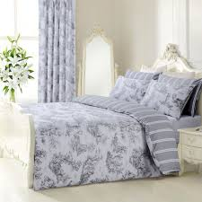 details about grey white french toile striped reversible single duvet cover