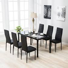 7 piece dining table set 6 chairs metal black gl kitchen room furniture