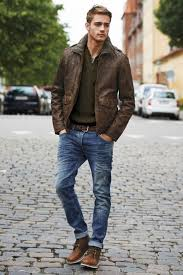 office style for men mens style look brown leather jacket dark green henley medium wash
