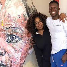 Oprah and Ava Duvernay at Nelson Makamo's studio