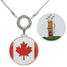 ball markers. glitzy canada flag ball marker \u0026 vintage golf bag ballmarker with magnetic necklace markers