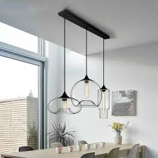 modern style 3 light pendant light with clear glass shade for dining room kitchen island