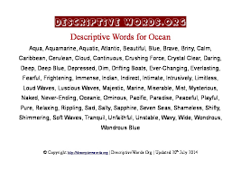 descriptive words for ocean descriptive words list of adjectives  ocean descriptive words
