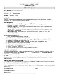 Medical Biller Job Description Resume Medical Billing Specialist Job Description Stibera Resumes 2