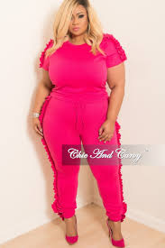 plus size short sets new plus size 2 piece short sleeve ruffle top and jogging pants set
