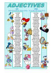 Adjectives Ed And Ing Poster Esl Worksheet By Sevim 6
