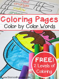They can then practice color recognition by. Simple Color Words Coloring Pages