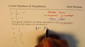 find coefficient for linear system with no solution sat new