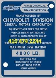 Details About Oem Chevrolet Truck Pu Data Plate Serial Number Id Tag Vin Stamping Available