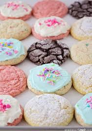 a baking sheet full of finished cookies made using this cake mix cookies recipe there