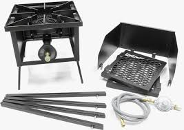 80 000 btu hr triple burner cookers stand with wing guard 2 wings