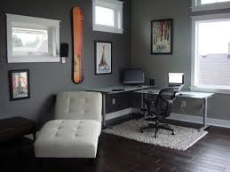 grey home office. Striking Home Office Interior Design Ideas With Black Modern Swivel Chair And White Area Fur Rug Plus Lounge Also Grey Painted Wall Feat I