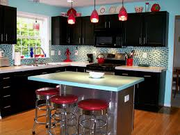 Red And Black Kitchen Blue Mozaic Tile Backsplash Red Pendant Light Red Chair Black Wall