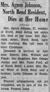 Obituary for Agnes Johnson (Aged 57) - Newspapers.com