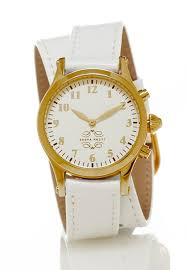 gold round watch with double wrap strap white leather image 1