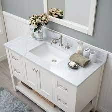 White Shaker 48 Bathroom Vanity 4 Drawers 1 Sinks Open Shelf W Marble Top White Vanity Bathroom Single Bathroom Vanity Bathroom Styling