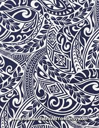 Hawaiian Tapa Fabric Tribal Tattoo Patterns In White And Navy