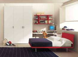 Living Room : Modern White Wooden Corner Desk Ideas Under Fascinating Red  Hardwood Bookshelves Near Glass Windows For Small Bedroom Design With Kids  Study ...