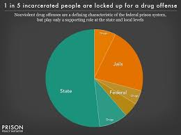 pie chart showing the portion of people incarcerated in federal prisons state prisons and local
